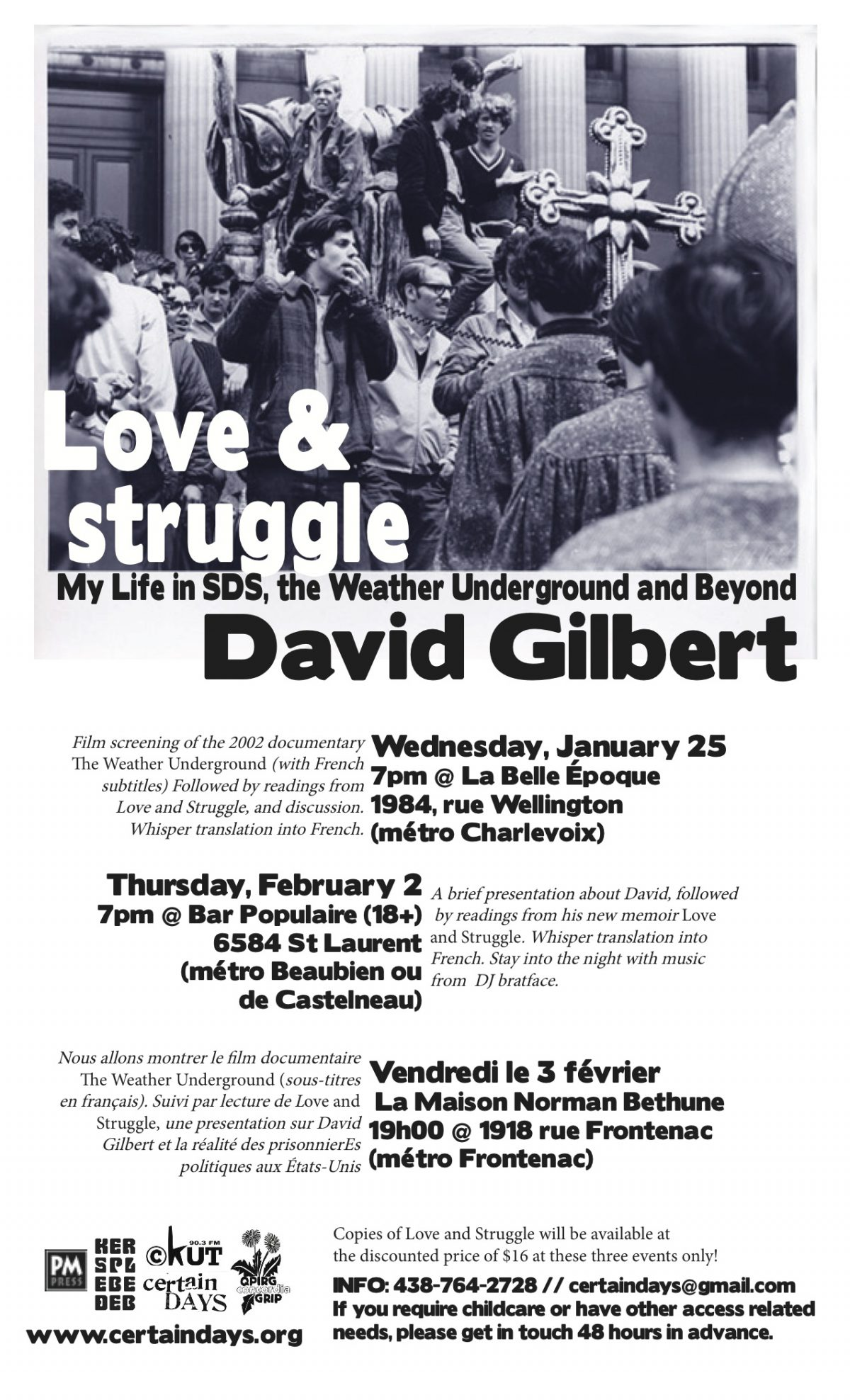 David Gilbert's Love and Struggle Comes to Montreal – 1/25/11